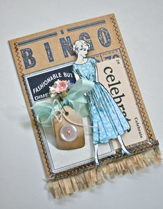 Vintage Bingo Card gift pocket. Also using Vintage Street Market Dimestore Vogue paper doll and vintage forget me nots.