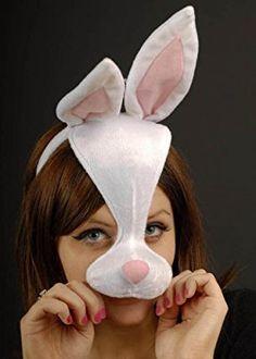 Weiß Kaninchen Maske auf Haarband mit Ohren