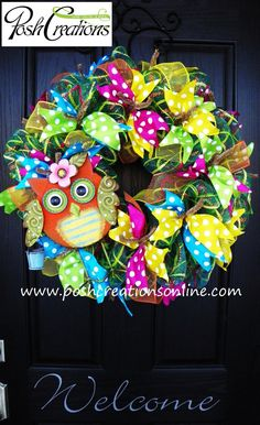 Precious for spring~ Mesh Wreath Owl Wreath by poshcreationsKY, $65.00