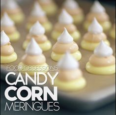 Halloween Treat And Halloween Dessert Recipes Candy Corn Meringues Köstliche Desserts, Delicious Desserts, Dessert Recipes, Yummy Food, Snacks Recipes, Veg Recipes, Tasty, Easy Cupcake Recipes, Easter Recipes