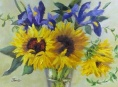 Sunflowers and Irises in Oil, painting by artist Pat Fiorello