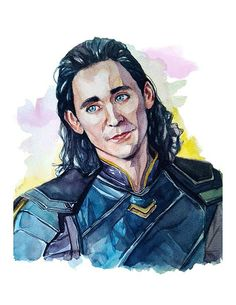 Tom Hiddleston as Loki Lafueyson  #loki #marvel #lokilufeyson #tomhiddleston #fanart #art #watercolor #watercolorportrait #portrait #watercolour #maleportrait #thor #thorragnarök