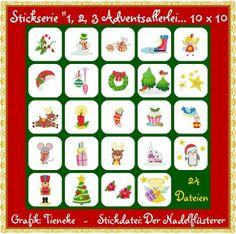 ♥Stickserie ♥Adventsallerlei♥ 10x10 Rahmen von Der Nadelflüsterer auf DaWanda.com