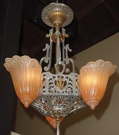 Lincoln 3 shade vintage chandelier from the 1930s    #slipshade #artdeco