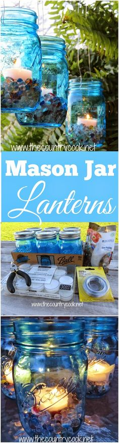 Mason Jar Lanterns from The Country Cook. Light it up blue for World Autism Awareness Day. These are so simple and gorgeous for all your outdoor evening activities. Put them on steps or on picnic tables or hang them up in trees!