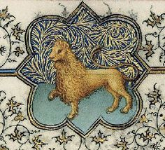 Leo from medieval Book of Hours - her astrological sign Medieval Books, Medieval Manuscript, Medieval Art, Illuminated Letters, Illuminated Manuscript, Illustrations Vintage, Illustration Art, Lion Images, Book Of Hours