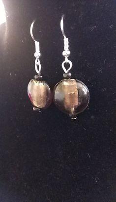 Black round glass bead earrings