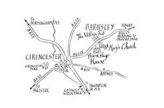 Bespoke hand-drawn map for a couple getting married at Barnsley House Hotel. We are happy to produce similar maps for your wedding. www.bespokegiftmaps.co.uk