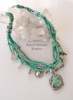 Turquoise Necklace Designs | Schaef Designs turquoise charm necklace with native american jewelry ...