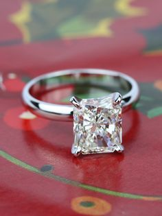 A stunning 3.53 Carat Radiant Diamond with Classic Solitaire Engagement Ring!