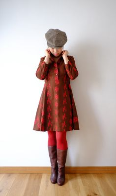 Brown and red embroidered vintage flannel dress
