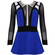 Posh Girl Royal Blue  Bandage Peplum Blouse ($78) ❤ liked on Polyvore featuring tops, blouses, shirts, dresses, blusas, electric blue top, shirt top, royal blue peplum top, peplum tops and blue top