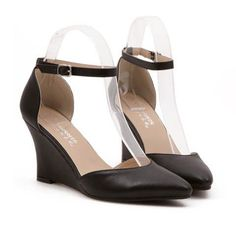 $13.46 Simple Women's Wedge Shoes With Pointed Toe and Belt Design