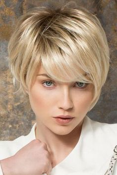 Ash Blonde Short Straight Hair with Long Bangs Pixie Style Cut Full Lace Wig Color: Blended Hair As Shown Material: Kanekalon Fiber Synthetic Hair - lace Hair full Wig. CAP TYPE: Wefted Cap with Skin Colored Top for n. - June 22 2019 at Short Straight Hair, Short Hair Cuts, Short Hair Styles, Natural Hair Styles, Long Pixie Cut With Bangs, Short Hair Over 50, Short Hair Long Bangs, Natural Braids, Pixie Cuts
