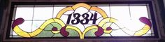 """Stained Glass Transom with address marker / """"Victorian Ribbons"""" (AM-50)"""