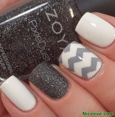 Gorgeous White Gel Nails with pattern and Sparkles. Biosculpture gel. Mirror Mirror Salon and Spa Kelowna BC. #gelnails #nailart2014