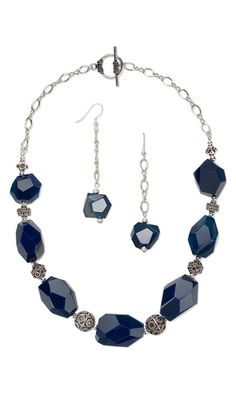 Single-Strand Necklace and Earring Set with Agate Gemstone Beads and Sterling Silver Beads and Chain - Fire Mountain Gems and Beads