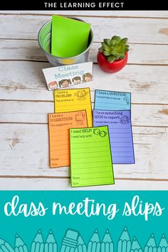 Class meetings in upper elementary are the perfect way for students to be heard. These slips are easy to use and include: I have something GOOD to report, I have a QUESTION, I need HELP, I have a PROBLEM, I have a SUGGESTION. Instead of using the slips for class meetings, they can be used as a classroom management tool for students to communicate needs to the teacher. #thelearningeffect