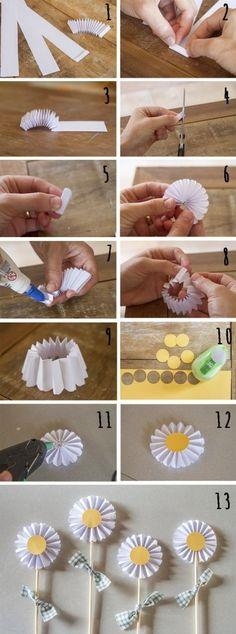 Cómo hacer margaritas de papel reciclado paso a paso