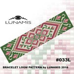 Bracelet pattern, loom pattern, square stitch pattern, pdf file, pdf pattern, cuff, #033L by LunamisBeadsPatterns on Etsy