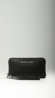 Black Saffiano leather smartphone purse