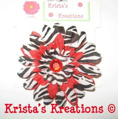 #C-Z04: Mini Red Zebra Gerbera Red Rhinestone Black Lined Alligator Clip #Red #Zebra #Black #Layered #Gerbera #Daisy #Flower #HairClip #Clip #AlligatorClip #KristasKreations https://www.facebook.com/KristasKreationsEtc