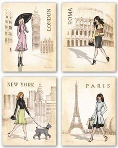 Fashion Capitols of the world! Rome, London, Paris, and New York! I so need this!
