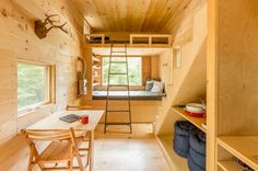 Love the simplicity here. This is the Ovida tiny house on wheels in Boston, MA by Millenial Housing Lab and Getaway House. And this little home is available as a tiny house vacation rental in the area! When you go inside, y…