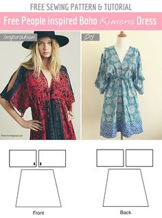 Latest Photographs easy Sewing clothes Tips Easy Free Sewing Pattern: DIY Free People summer dress! Make your own boho kimono dress with this Beginner Sewing Patterns, Dress Sewing Patterns, Sewing For Beginners, Free Sewing, Clothing Patterns, Sewing Tips, Sewing Hacks, Skirt Patterns, Pattern Sewing