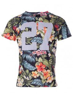 Twisted Soul Mens Black Floral 27 Print Short Sleeve T-Shirt