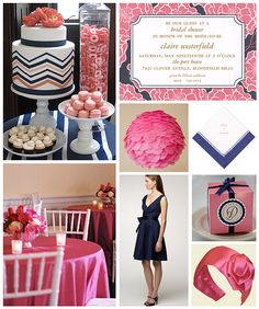 Pink and Navy Bridal Shower by finestationery, via Flickr