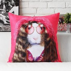 Janis joplin cartoon animal pillow personalized home decor pillows couch cushions;Guess who this is? Janis joplin cartoon animal pillow, in the 21st century we do not know whether you recall Janis Joplin? 3D design effect, with a humorous expression, let the stars, and cute animal pattern ideas together, very personal home decoration pillow sofa cushion, do you like it? Size: 16.9 in * 16.9 in