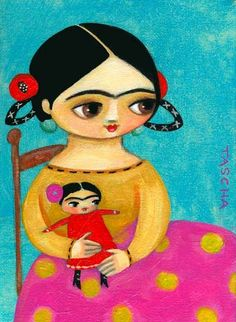 Little Frida with her little Frida doll. This is a print of an original painting I did in acrylic on canvas. It looks great matted and framed! Frida Kahlo Diego Rivera, Frida And Diego, Art And Illustration, Illustrations, Frida Art, Doll Painting, Arte Popular, Naive Art, Mexican Folk Art