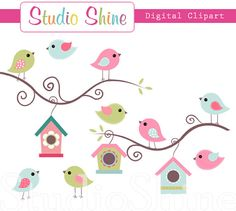 Digital Clipart - Cute Birds Home Tweet Home - Clip art for scrapbooking, party invitations, Personal and Small Commercial Use via Etsy