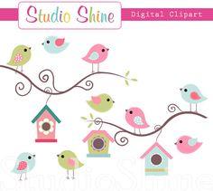 Digital Clipart Cute Birds Home Tweet Home Clip by StudioShine, $5.00