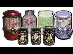 TOP 5 Glass Jars Ornament Concepts / DIY Residence Decor - Ideas of Decoration Glass Jars, Mason Jars, Bottle Cap Art, Decoupage, Diy Home Decor, Videos, Projects To Try, Scrap, Arts And Crafts