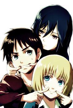 Mikasa, Armin, and Eren. Smile because you can't forever - Attack on Titan/Shingeki no Kyojin Eren X Mikasa, Attack On Titan Eren, Levi X Eren, Manga Anime, Otaku, Tsubaki Chou Lonely Planet, Eremika, Anime Kawaii, Anime Shows