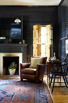 Austin farmhouse living room. Tim Cuppett Architects.