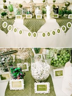 Green Candy Bar but mine in yellow and grey Candy Buffet Tables, Dessert Buffet, Candy Table, Lolly Buffet, Cute Baby Shower Ideas, Baby Shower Favors, Green Candy Bars, Candy Bar Wedding, Wedding Favors