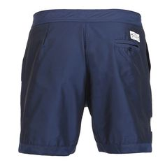 BLUE BOARDSHORTS WITH BEIGE STRIPE Navy blue memory contact polyester mid-length Boardshorts with contrast beige stripe on front. Fixed waistband with Velcro closure and adjustable drawstring. Two front pockets and back buttoned pocket. Cuisse de Grenouille brand patch on back. Internal net. COMPOSITION: 100% POLYESTER. Model wears size L, he is 189 cm tall and weighs 86 Kg.