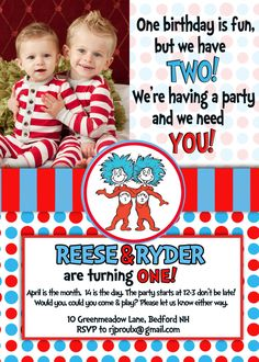 Dr. Seuss Thing 1 Thing 2 - Twins Birthday Invitation. $12.00, via Etsy.