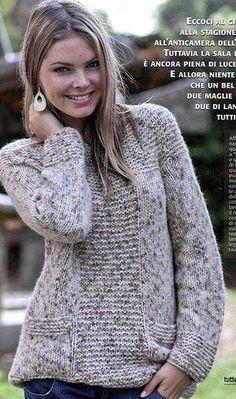 El pulóver de mezcla Sweater Knitting Patterns, Knit Patterns, Knit Fashion, Knit Cardigan, Knitwear, Knit Crochet, Sweaters For Women, Clothes, Guernsey