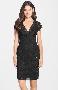 JS Collections Layered Lace Sheath Dress nylon/spandex/poly black/nude sz2 39L 128.00