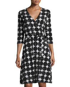 3/4-Sleeve Polka Dot Perfect Wrap Dress, Black by Neiman Marcus at Neiman Marcus Last Call.