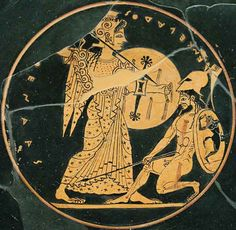 Athena Enkelados Louvre CA3662 Athena and Enceladus fighting. Interior from an Attic red figure dish, ca. 525 BC.
