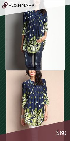 "Just In Navy And Green Tunic NWT Size S Tunic with notch neck.  Soft and stretchy fabric.  Size.  33"" !ength from shoulder to hem.  32"" bust.  True to size.  95% Polyester 5% Spandex. Reborn Collection Tops Tunics"