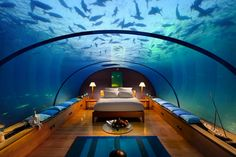 Conrad Maldives Rangali Island--- If my bedroom was like this, I would never leave it.... :)