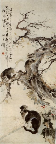 Playing cats, Korean painting by Jang Seung-eop (1843–1897), known by his pen name Owon