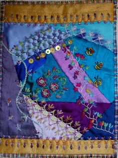 I ❤ crazy quilting & embroidery . Amicorum page for Ati ~By Ritva Peltola Crazy Quilt Stitches, Crazy Quilt Blocks, Crazy Quilting, Ribbon Embroidery, Embroidery Stitches, Embroidery Ideas, Quilt Patterns, Crochet Patterns, Crazy Patchwork