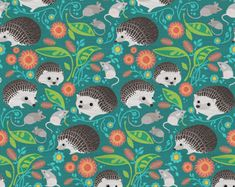 Woodland Hedgehogs Fabric - Hedgehogs And Mice Gathering 4in By Robinpickens - Animal Nursery Cotton Fabric By The Yard With Spoonflower
